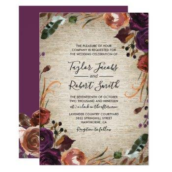 rustic chateau butterum & plum floral wedding invitation