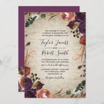 rustic chateau butterum & plum floral wedding invitation