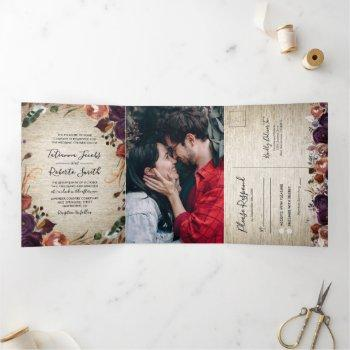rustic chateau floral all in one wedding tri-fold invitation