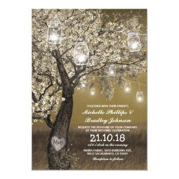 rustic cherry tree & string lights wedding invitation