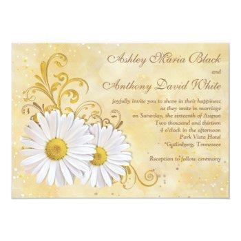 rustic chic elegant shasta daisy wedding invitation
