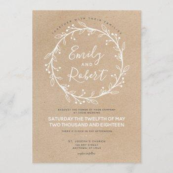 rustic chic floral wreath wedding invitation