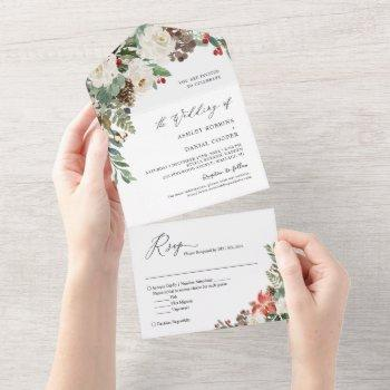 rustic chic winter floral pine berries wedding all in one invitation