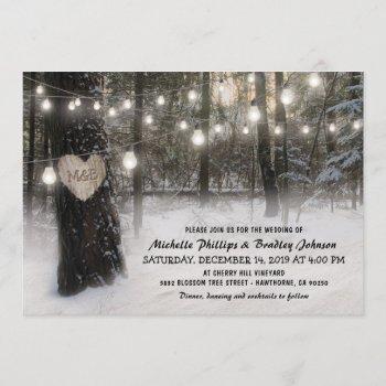 rustic christmas winter woodland wedding invitation