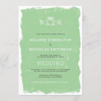 rustic claddagh irish wedding invite, 3991 invitation