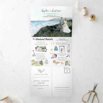 rustic coastal sea wedding | tri-fold invitation