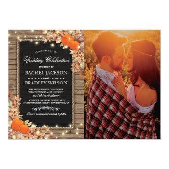 rustic country autumn fall photo wedding invitation