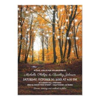 rustic country autumn fall woodland wedding invitation
