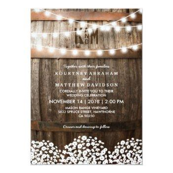 Small Rustic Country Baby's Breath String Lights Wedding Invitation Front View
