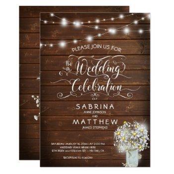 rustic country barn mason jar daisy barefootbride™ invitation