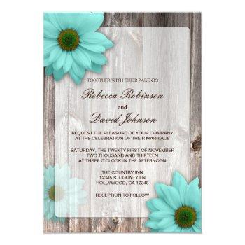 rustic country barn with teal blue daisies wedding invitation