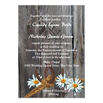 rustic country barn wood and daisies invitation