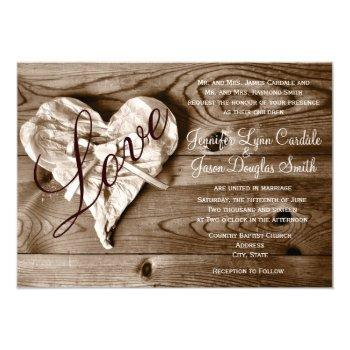 rustic country barn wood love heart wedding invite