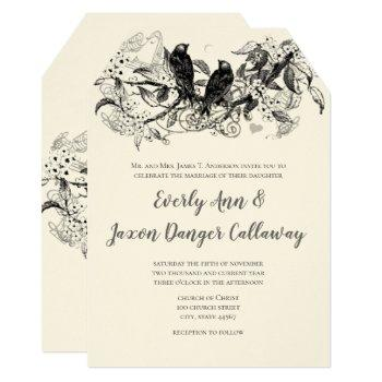 rustic country blooming forest love bird wedding invitation