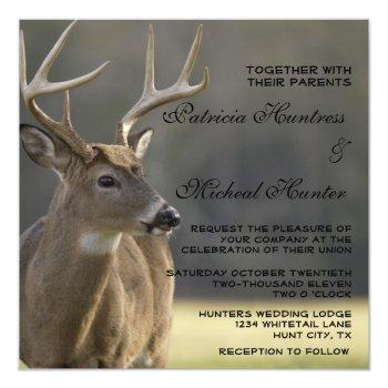 rustic country buck animal wildlife deer wedding invitation