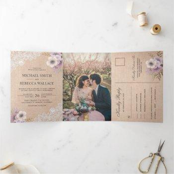 rustic country burlap lace pink floral wedding tri-fold invitation