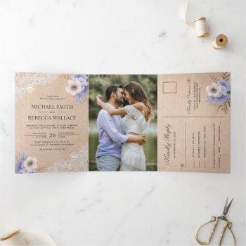rustic country burlap lace purple floral wedding tri-fold invitation