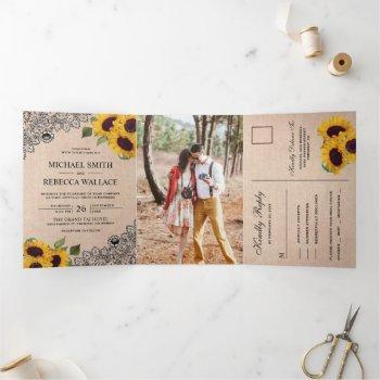 rustic country burlap lace sunflower wedding photo tri-fold invitation