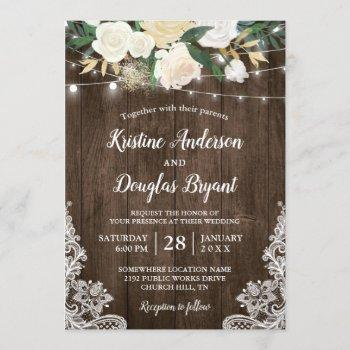 rustic country chic floral string lights wedding invitation