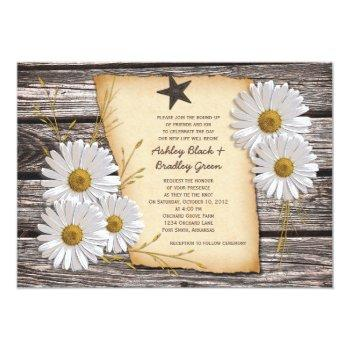 rustic country daisy wedding invitation