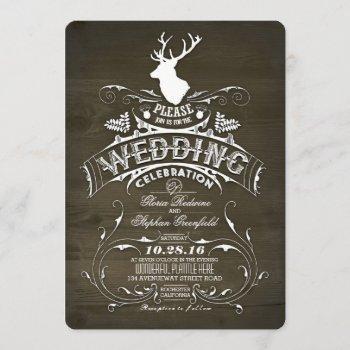 rustic country deer antlers barn wedding invitation