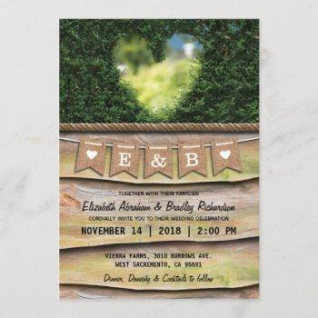 rustic country garden wedding   heart invitation