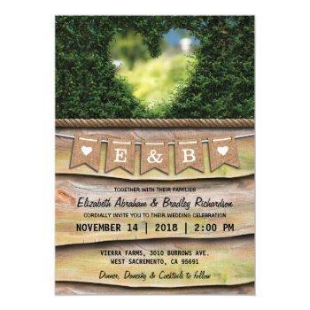 rustic country garden wedding | heart invitation