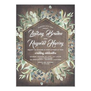 Small Rustic Country Greenery Foliage Barn Wedding Invitation Front View