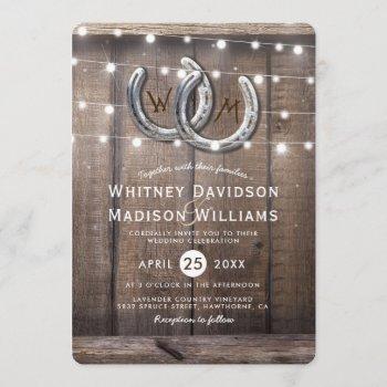 rustic country horseshoe barn lights wedding invitation
