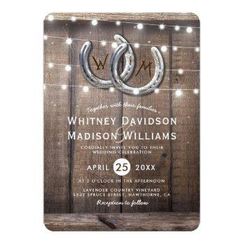 rustic country horseshoe barn lights wedding invitation