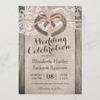 rustic country horseshoe burlap lace wedding invitation