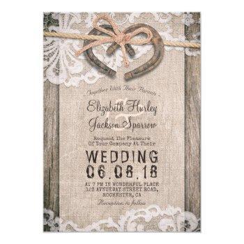 rustic country horseshoes burlap lace barn wedding invitation