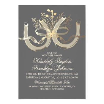 rustic country horseshoes gold and grey wedding invitation