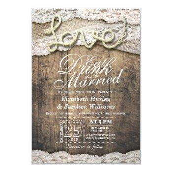 rustic country lace eat drink be married wedding invitation