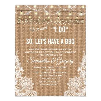 rustic country lace string lights i do bbq invite