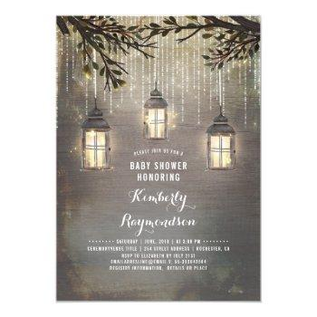 rustic country lanterns garden baby shower invitation