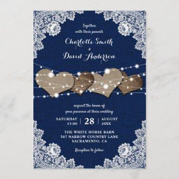rustic country navy blue burlap lace wedding invitation