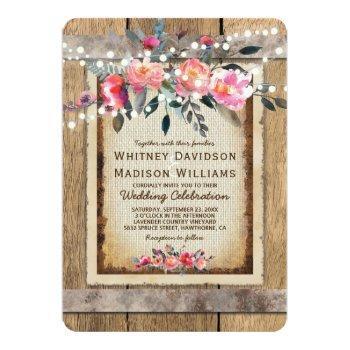 rustic country oak barrel burlap and wood wedding invitation