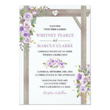 Small Rustic Country Purple Floral Wedding Pergola Invitation Front View