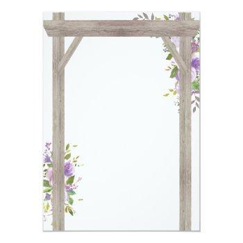 Small Rustic Country Purple Floral Wedding Pergola Invitation Back View