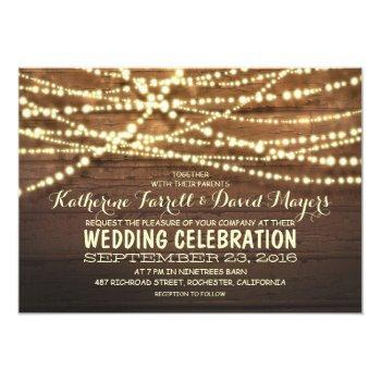 rustic country string lights and wood wedding invitation