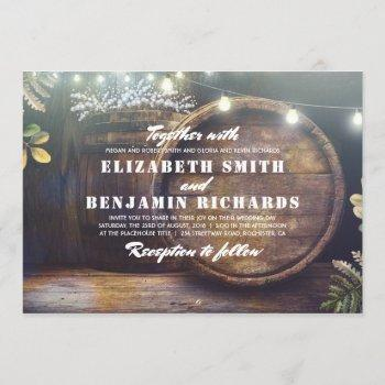 rustic country string lights baby's breath wedding invitation