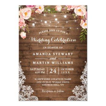 rustic country string lights floral lace wedding invitation