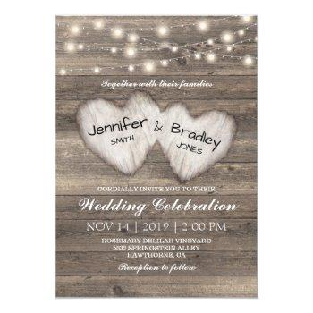 rustic country string of lights wedding invitation