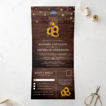 rustic country sunflower wood lantern wedding tri-fold invitation