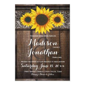 rustic country sunflower wood wedding invitations