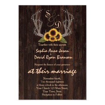 rustic country sunflowers antlers wedding invite