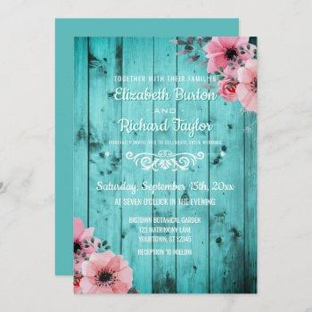 rustic country teal wood pink floral boho wedding invitation