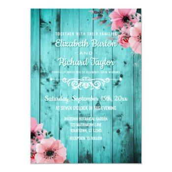 Small Rustic Country Teal Wood Pink Floral Boho Wedding Invitation Front View