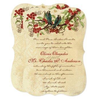 rustic country vintage love bird wedding invite